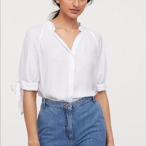 H&M White Sleeve Tie Top- Brand New!
